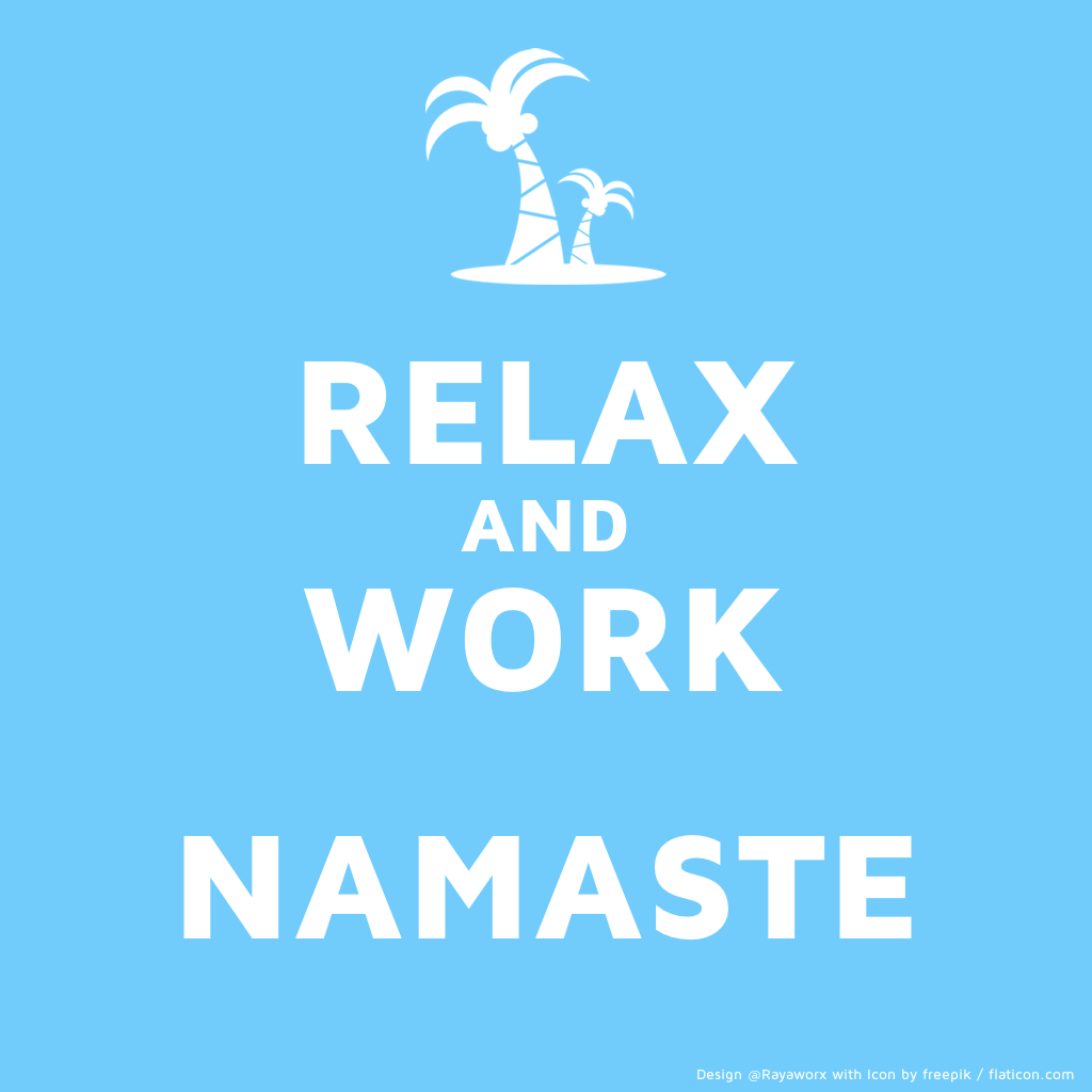 relax work yoga laptop palmtree