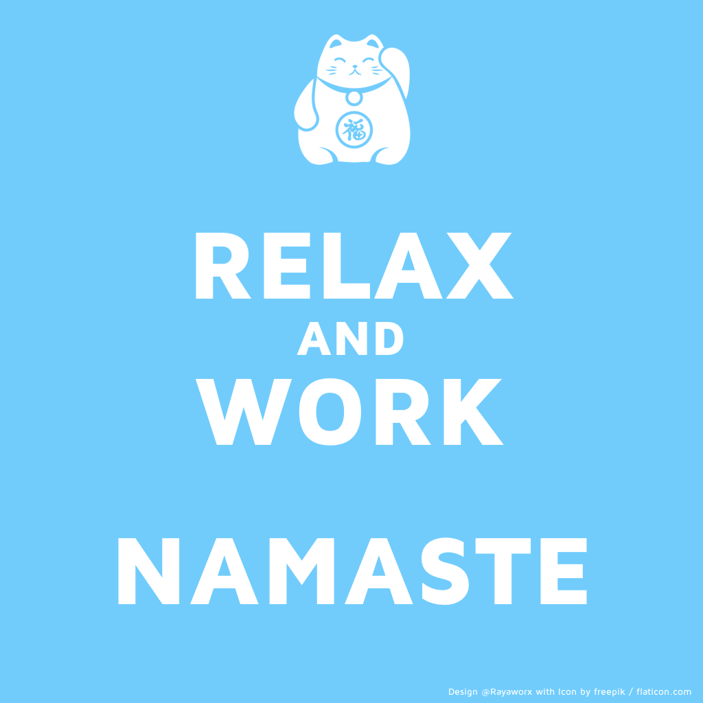 relax work yoga luckycat glückskatze
