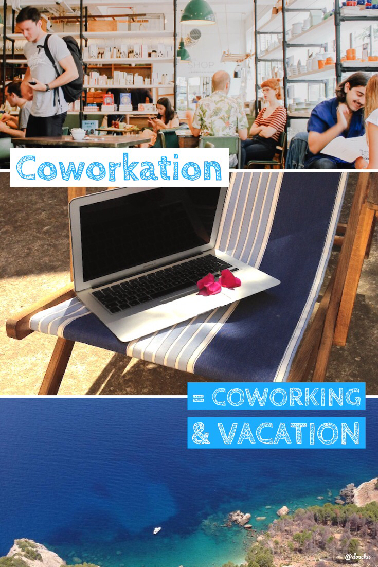 illustration coworkation: coworking plus vacation